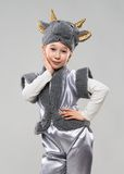 Red-haired girl in a cow costume Royalty Free Stock Photos