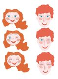 Red-haired girl with red dad laugh. Father and daughter. Animation Designer. vector illustration Royalty Free Stock Photo