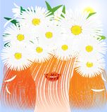 Red-haired girl and daisy. In the sun and blue sky head red-haired smiling girl wearing a crown of daisies Royalty Free Stock Image