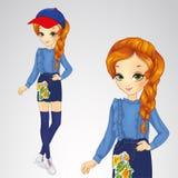 Red-haired Girl In Denim Skirt. Vector illustration of red-haired girl in denim skirt with applique Royalty Free Stock Image