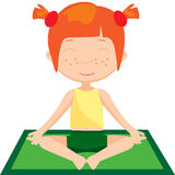Red-haired girl doing yoga exercise Stock Photos