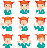 Red-haired girl doubts, rejoices, angry and gives advice Royalty Free Stock Photography