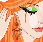 Red-haired girl with earrings. Vector illustration Stock Photo