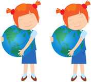 Red-haired girl with earth Royalty Free Stock Images