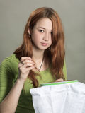 The lovely embroideress Stock Photography