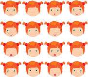 Red-haired girl emotions: joy, surprise, fear, sadness, sorrow, Stock Photography