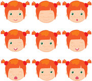 Red-haired girl emotions: joy, surprise, fear, sadness, sorrow, Stock Image