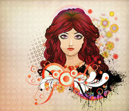 Red haired girl with floral Royalty Free Stock Image