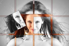 Red haired girl with flying hair, plastic surgery, beauty medicine, cosmetics and visage mosaic concept Stock Photography