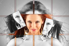 Red haired girl with flying hair, plastic surgery, beauty medicine, cosmetics and visage mosaic concept Royalty Free Stock Photos