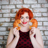 Red-haired girl  with food Stock Photo