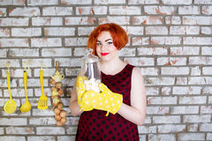 Red-haired girl  with food Royalty Free Stock Photos