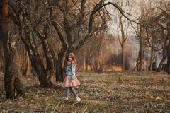 Red-haired girl with freckles in a park. Spring or Autumn. Happy carefree childhood royalty free stock photos
