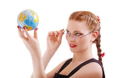 Red-haired girl with globe Royalty Free Stock Image