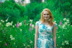 The red-haired girl in the green grass stock images