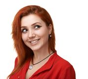 Red-haired girl having fun plotting Royalty Free Stock Photo
