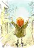 Red-haired girl with his hands up stands on the street Royalty Free Stock Image