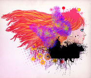 Red haired girl illustration Royalty Free Stock Photography