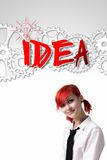 Red-haired girl inventor stock image