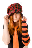 Red haired girl in knit hat Stock Photography