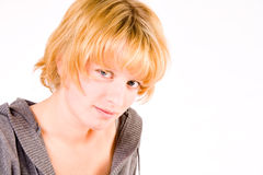 Red haired girl looking depressed at you royalty free stock photo