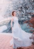 Red-haired girl in a modest, gray, silk dress in rustic style, which flutters in the wind. Portrait of the bride against Stock Images