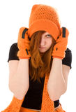 Red haired girl in orange hat Royalty Free Stock Images