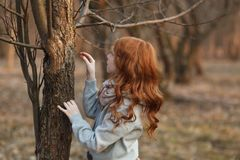 Red-haired girl in a park or in a forest by a tree in spring or autumn. The concept of childhood, knowledge of nature stock photo