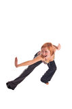 Red haired girl performing fitness exercises Royalty Free Stock Photos
