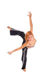 Red haired girl performing fitness exercises Royalty Free Stock Images
