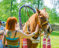 Red-haired girl petting a horse with red mane. Stock Image
