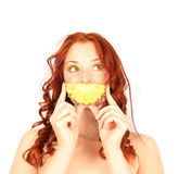 Red-haired girl pineapple smile isolated on white Stock Photos