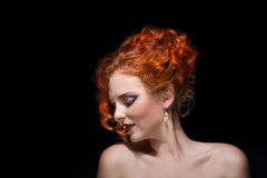 Red Haired Girl Portrait over Black Stock Photography