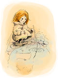 Red-haired girl and puddle. Vector drawing shabbily dressed red-haired girl who looks in a puddle Royalty Free Stock Image