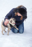 Red haired girl with pug dog. Red haired teen girl playing with funny pug puppy on snow in the park Royalty Free Stock Image