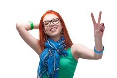 Red haired girl showing peace gesture Royalty Free Stock Photos