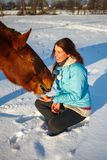 Red-haired girl in a snowy field feeds an apple from hands stock images