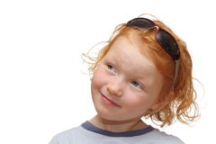 Red-haired girl with sunglasses Stock Photography