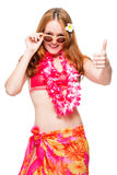 Red-haired girl with sunglasses ready for the beach season Royalty Free Stock Image