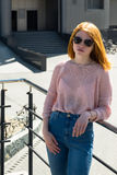 Red-haired girl is in sunglasses Royalty Free Stock Image