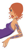Red-haired girl with tatto. Vector illustration Royalty Free Stock Images