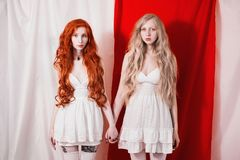 Red-haired girl touched the blonde. Unity of red and white. Two fabulous young girl with long curly hair. Stock Image
