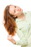 Red-haired girl touching her hair Stock Photography