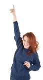 Red-haired girl is trying to keep warm Stock Images