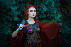 Red-haired girl warrior. Stock Photo