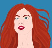 Red-haired girl in the wind Stock Image