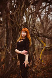 Red-haired girl woman in black dress dark forest, Stock Image