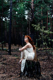 Red-haired girl in the woods Stock Image