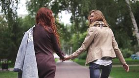 Red-haired girlfriends are walking around the park and holding hands. Back view. Red-haired girlfriends are walking in the park and holding hands stock footage