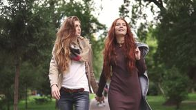 Red-haired girlfriends are walking in the park and holding hands. slow motion. Red-haired girlfriends are walking in the park and holding hands stock video